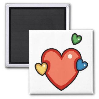 Multicolor Hearts 2 Inch Square Magnet