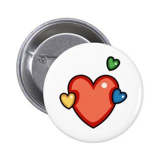 Multicolor Hearts Pinback Buttons