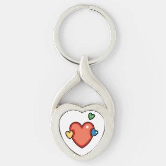 Multicolor Hearts Keychain