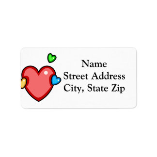 Multicolor Hearts Custom Address Labels