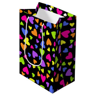 Multicolor Hearts on Black Medium Gift Bag