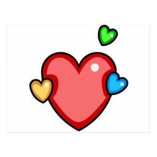 Multicolor Hearts Postcard