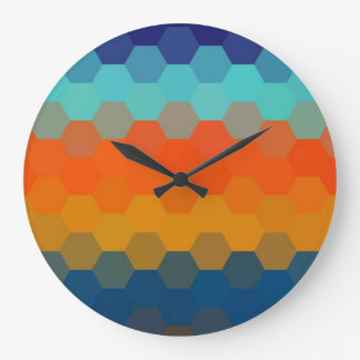 Multicolor Hexagonal Seamless Pattern 2 Large Clock