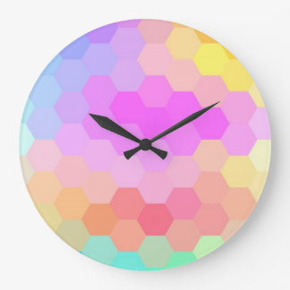 Multicolor Hexagonal Seamless Pattern Large Clock