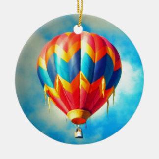 Multicolor Hot Air Balloon Ceramic Ornament