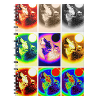 Multicolor Howling Wolf at Moon Pop Art Notebook