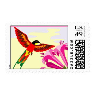 Multicolor hummingbird with flower postage stamp