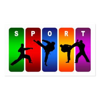 Multicolor Karate Emblem Business Card Templates
