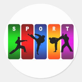 Multicolor Karate Emblem Classic Round Sticker