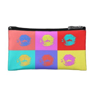Multicolor Kisses Cosmetics Bags