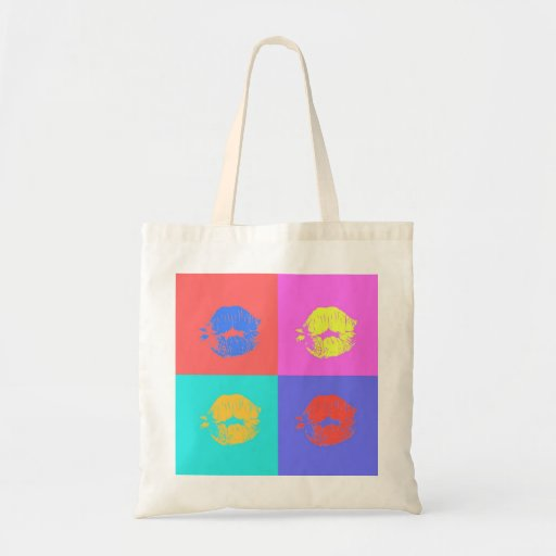 Multicolor Kisses Canvas Bags