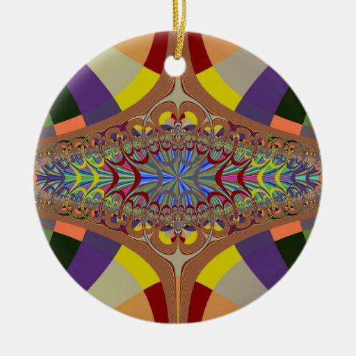Multicolor Ladder Fractal Christmas Tree Ornaments