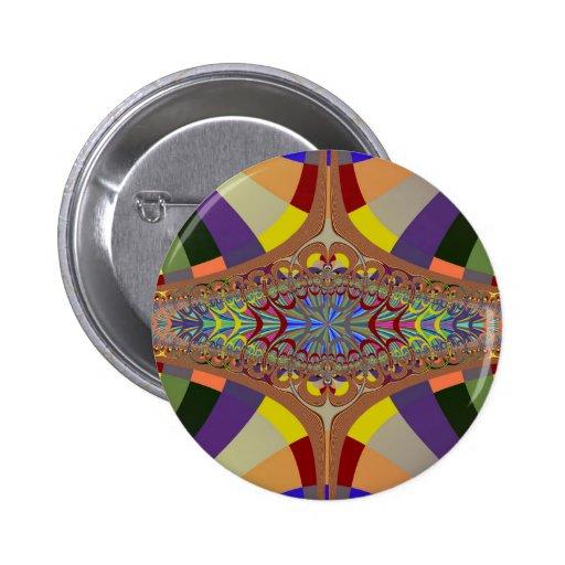 Multicolor Ladder Fractal Pinback Buttons