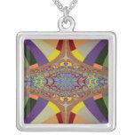 Multicolor Ladder Fractal Square Pendant Necklace