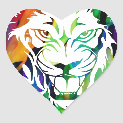MULTICOLOR LION PRODUCTS HEART STICKERS