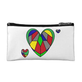 Multicolor Mirror Hearts Makeup Bag