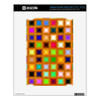 Multicolor Mosaic On Orange Background. Colorful Decals For NOOK