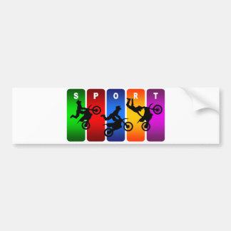 Multicolor Motocross Emblem Bumper Sticker