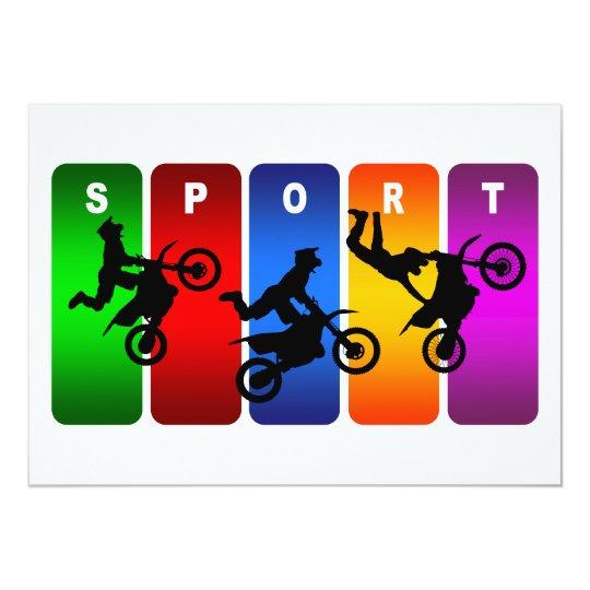 Multicolor Motocross Emblem Card