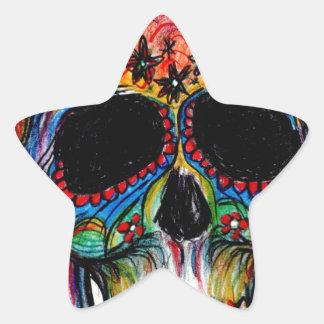 """""""multicolor muerte"""" Mexican Skull Pegatina En Forma De Estrella"""