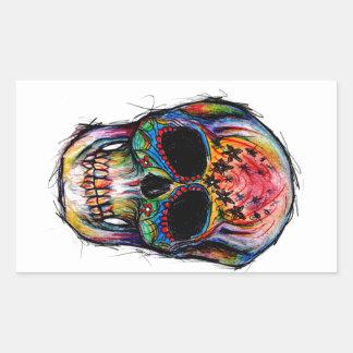"""multicolor muerte"" Mexican Skull Pegatina Rectangular"