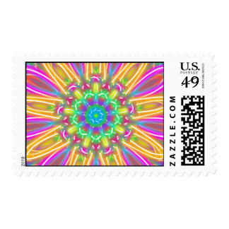 Multicolor Neon Kaleidoscope Daisy Postage Stamps