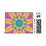 Multicolor Neon Kaleidoscope Daisy Stamp