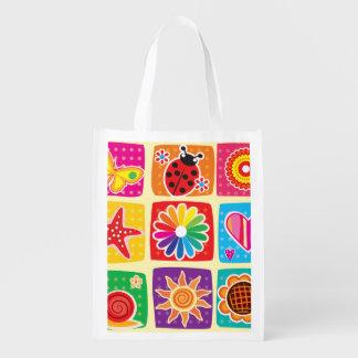 Multicolor, niños, mariposas, sol, corazones, bolsa de la compra