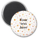 Multicolor orange polka dots 2 inch round magnet