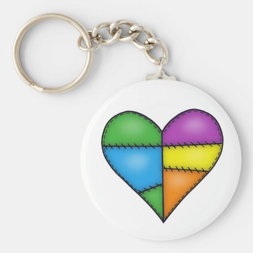 Multicolor Padded Quilted Stitched Heart 01 Basic Round Button Keychain
