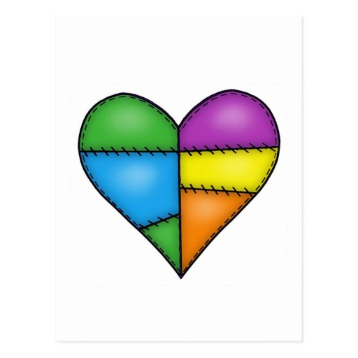 Multicolor Padded Quilted Stitched Heart 01 Postcard