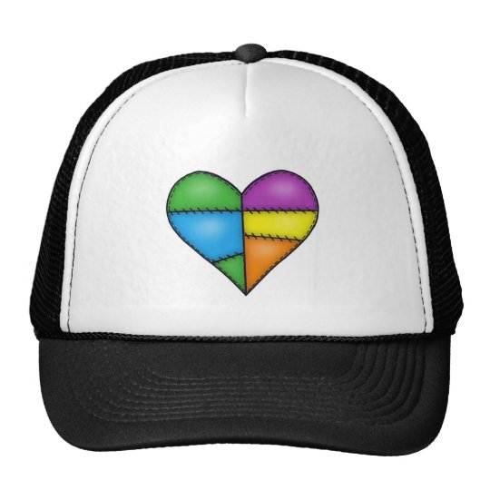 Multicolor Padded Quilted Stitched Heart 01 Trucker Hat
