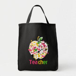 Multicolor Paint Splatter Apple Teacher Canvas Bag