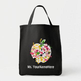 Multicolor Paint Splatter Apple Teacher Canvas Bags