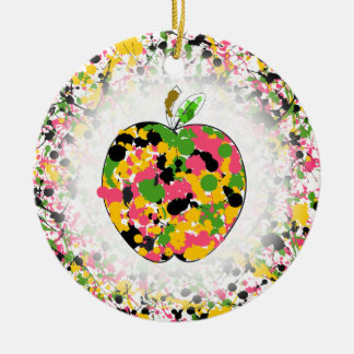 Multicolor Paint Splatter Apple Teacher Ceramic Ornament