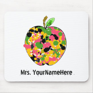 Multicolor Paint Splatter Apple Teacher Mouse Pad