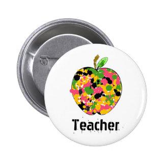 Multicolor Paint Splatter Apple Teacher Pins