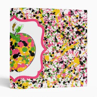 Multicolor Paint Splatter /  Fancy Apple Teacher Vinyl Binder