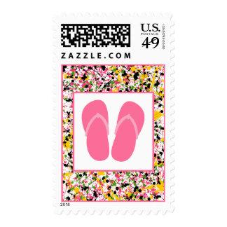 Multicolor Paint Splatter Pink Flip Flops Postage