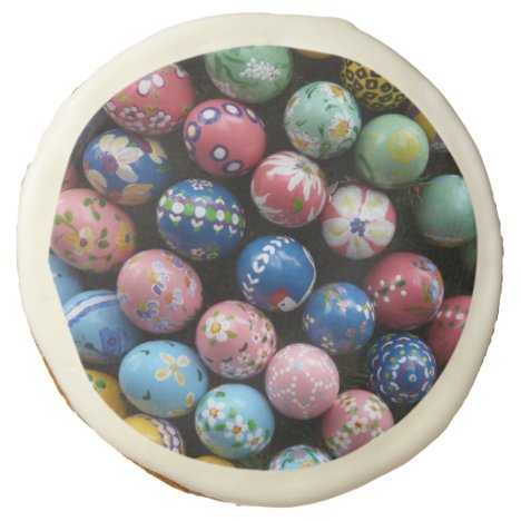 Multicolor Painted Easter Eggs Sugar Cookie
