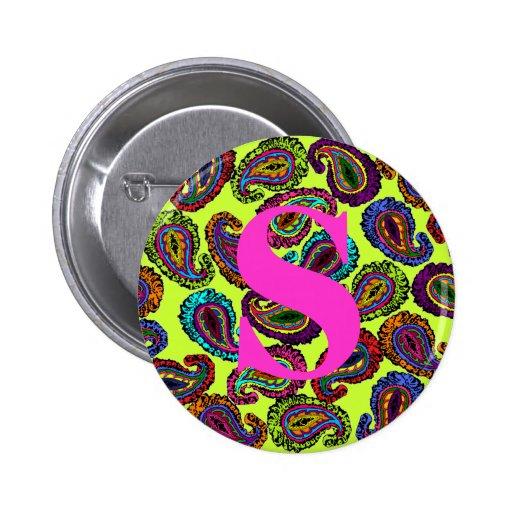 Multicolor Paisley 2 Inch Round Button