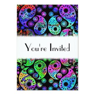 """Multicolor Paisley Design. 5"""" X 7"""" Invitation Card"""