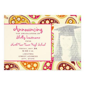 Multicolor Paisley Graduation Photo Announcement