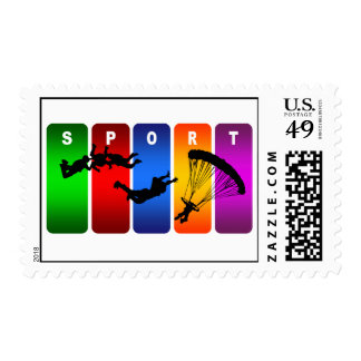 Multicolor Parachuting Emblem Postage