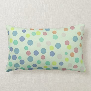 Beach Themed Multicolor pastel dots on pastel green lumbar pillow