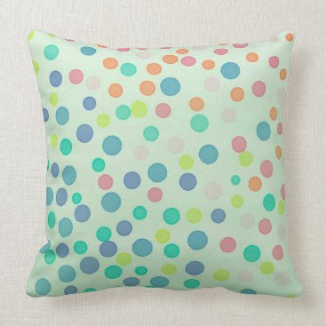 Beach Themed Multicolor pastel dots on pastel green throw pillow