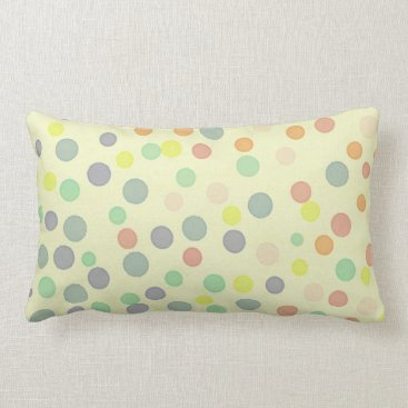 Beach Themed Multicolor pastel dots on pastel yellow lumbar pillow