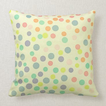 Beach Themed Multicolor pastel dots on pastel yellow throw pillow