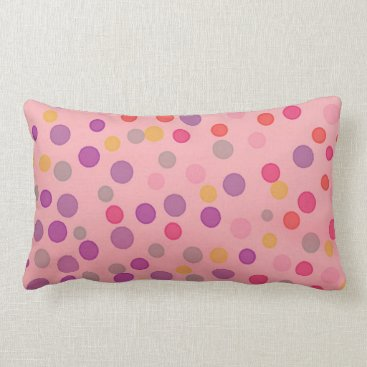 Beach Themed Multicolor pastel dots on pink lumbar pillow