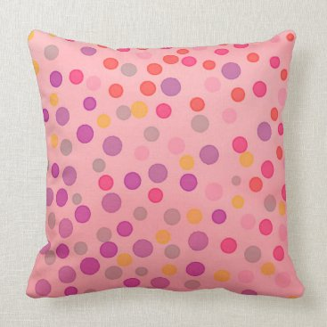 Beach Themed Multicolor pastel dots on pink throw pillow